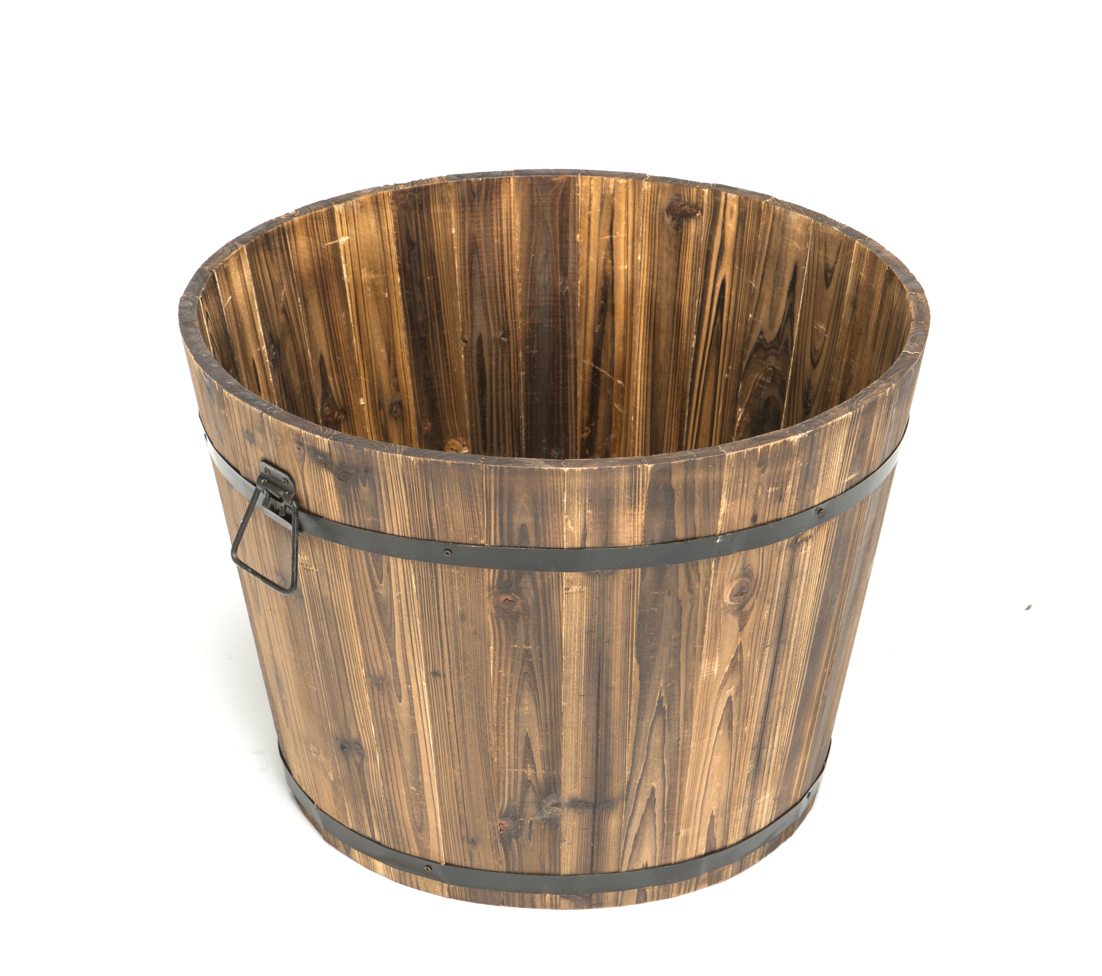 Large Wooden Barrel Planters: Large Round Whiskey Barrel Planter