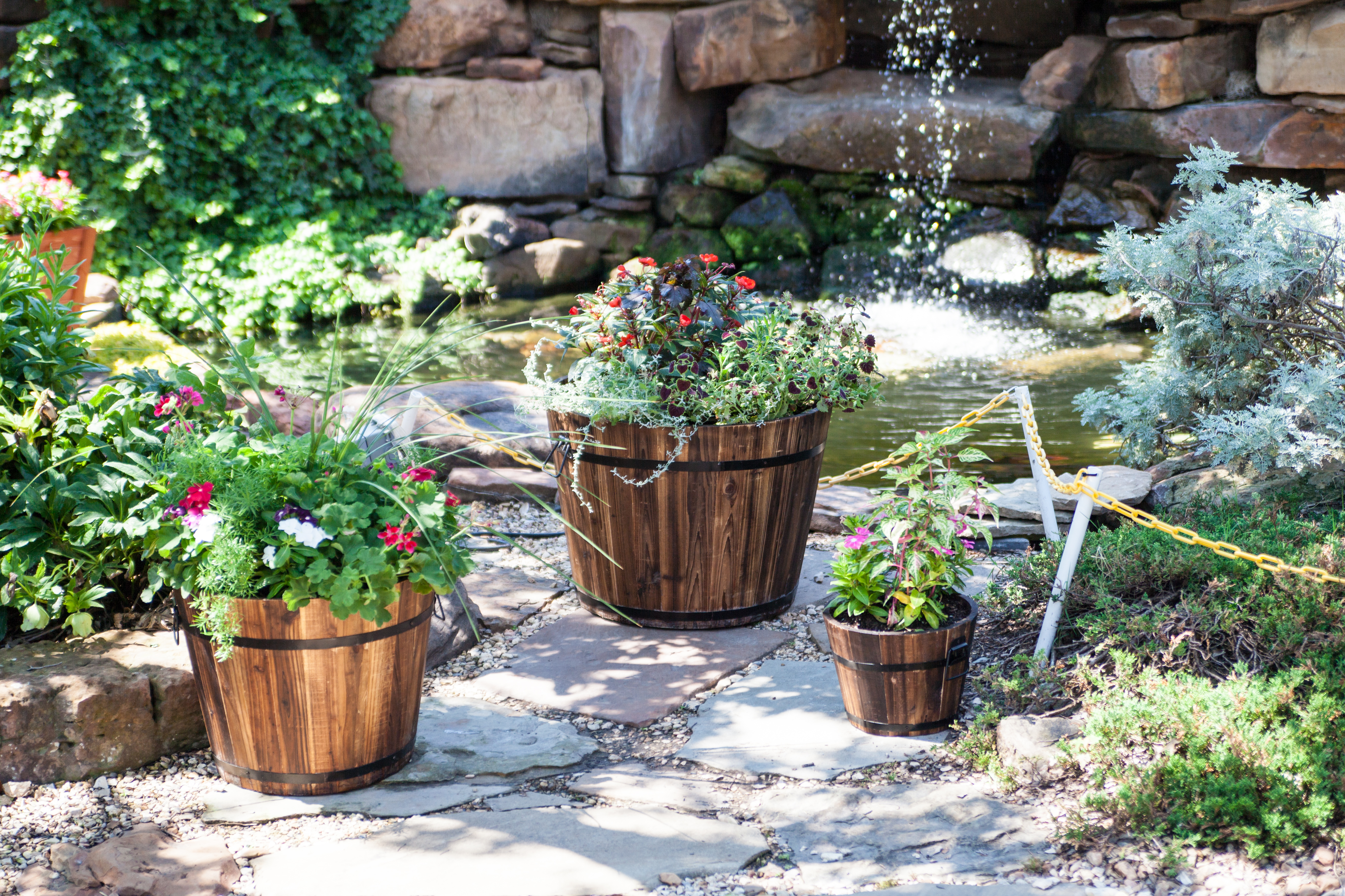 Round Whiskey Barrel Garden Planter