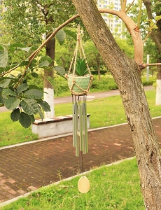 "36"" Garden Art Wind Chime With Succulent Plant"