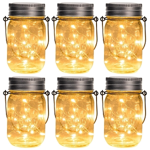 6 Pack Hanging Solar Mason Jar Lights