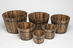 Round Whiskey Barrel set of 6