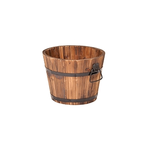 Small Round Wooden Planter